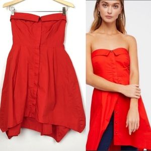Free People On My Way Red Strapless Button Tunic